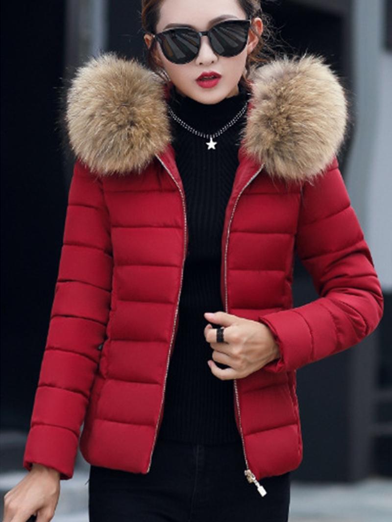 Ericdress Slim Plain Short Faux Fur Hooded Down Coat