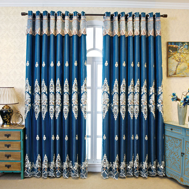 Golden Blackout Decorative Embroidery Curtain Sets Custom 2 Panels Drapes No Pilling No Fading No off-lining