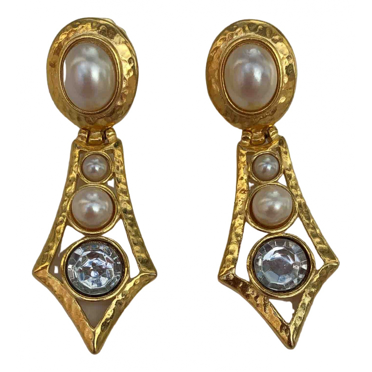 Non Signé / Unsigned Art Déco Gold Metal Earrings for Women \N