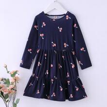 Toddler Girls Cherry Print Ruffle Hem Babydoll Dress