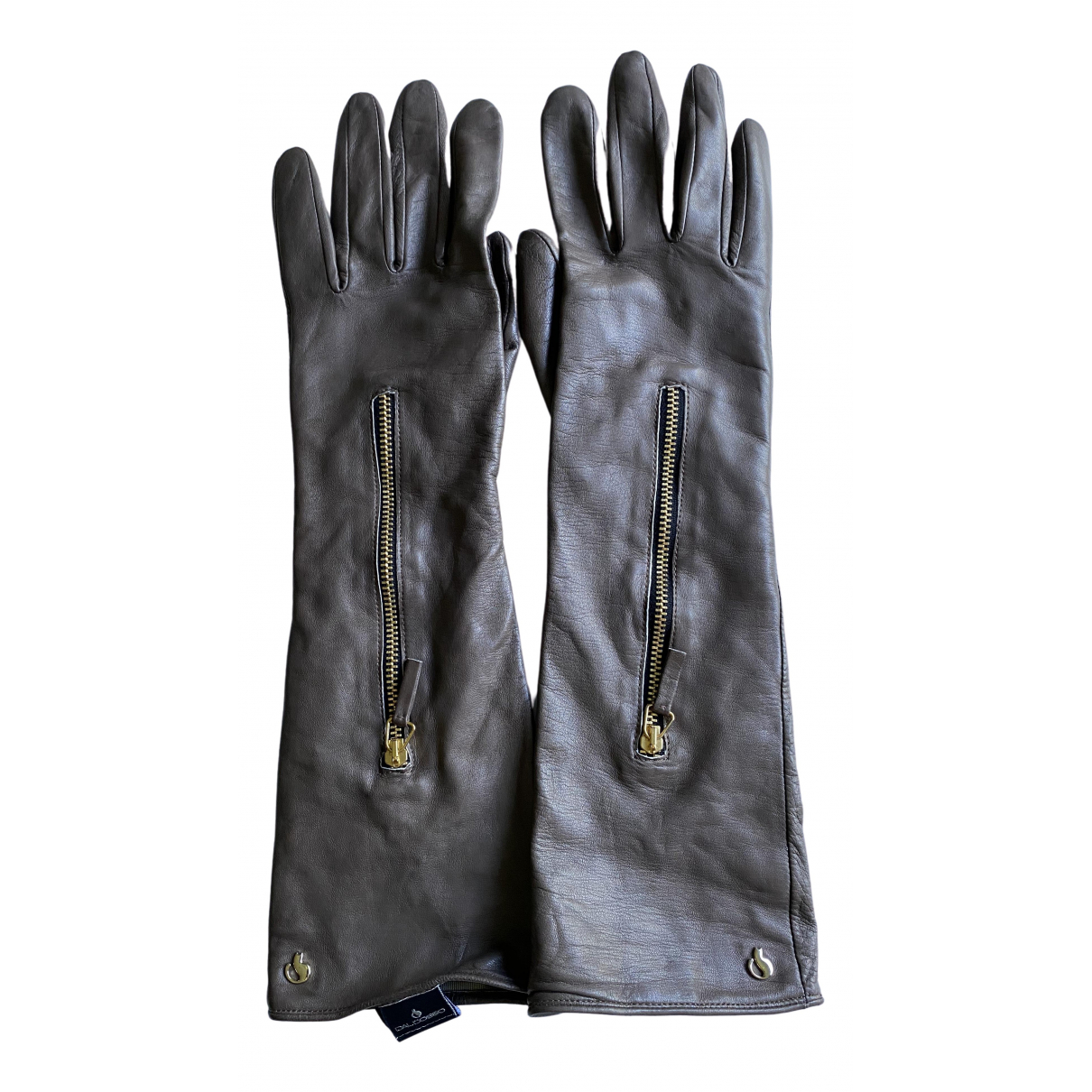 Non Signé / Unsigned \N Grey Leather Gloves for Women 7.5 Inches