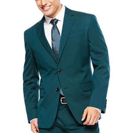 Mens 2 Button Super Slim Fit Teal Suit Jacket