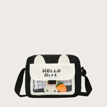 Letter Graphic Clear Detail Crossbody Bag