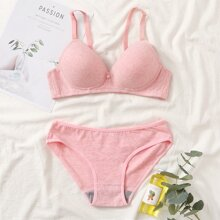 Full Cup Solid Lingerie Set