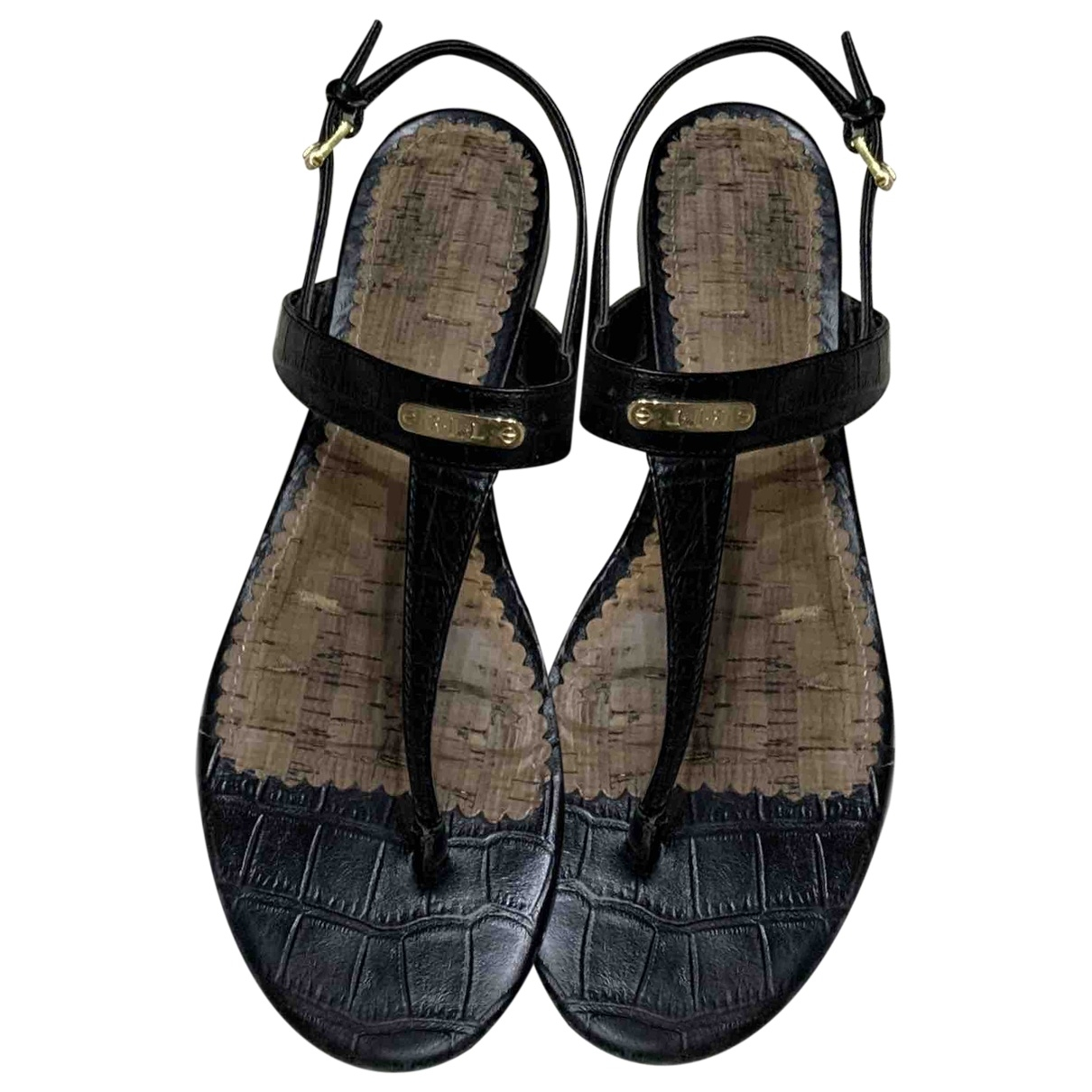 Ralph Lauren \N Black Leather Sandals for Women 37 EU