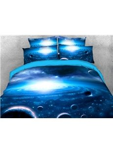 Blue Galaxy Bedding Soft Lightweight 3D Planets Duvet Cover Set 4-Piece Bedding Set