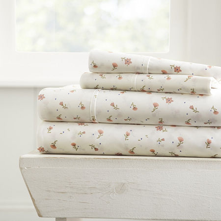 Casual Comfort Premium Ultra Soft Floral Pattern 4Piece Bed Sheet Set, One Size , Pink