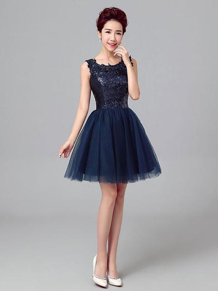 Milanoo Short Prom Dresses Dark Navy Sequin Tulle Cute Graduation Dress Sleeveless Mini Cocktail Dress