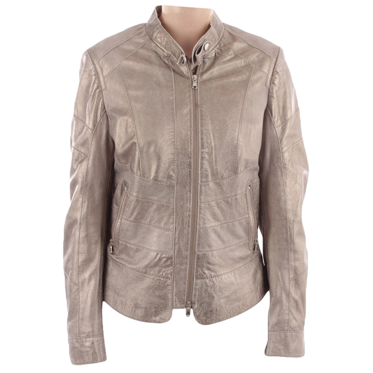 Non Signé / Unsigned \N Metallic Leather jacket for Women 40 FR