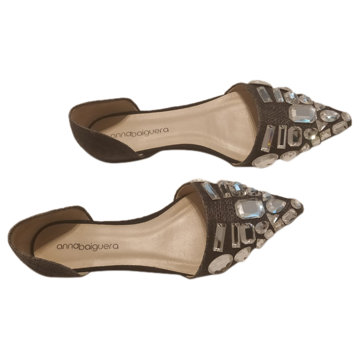 Non Sign?? / Unsigned \N Grey Patent leather Flats for Women 37 EU