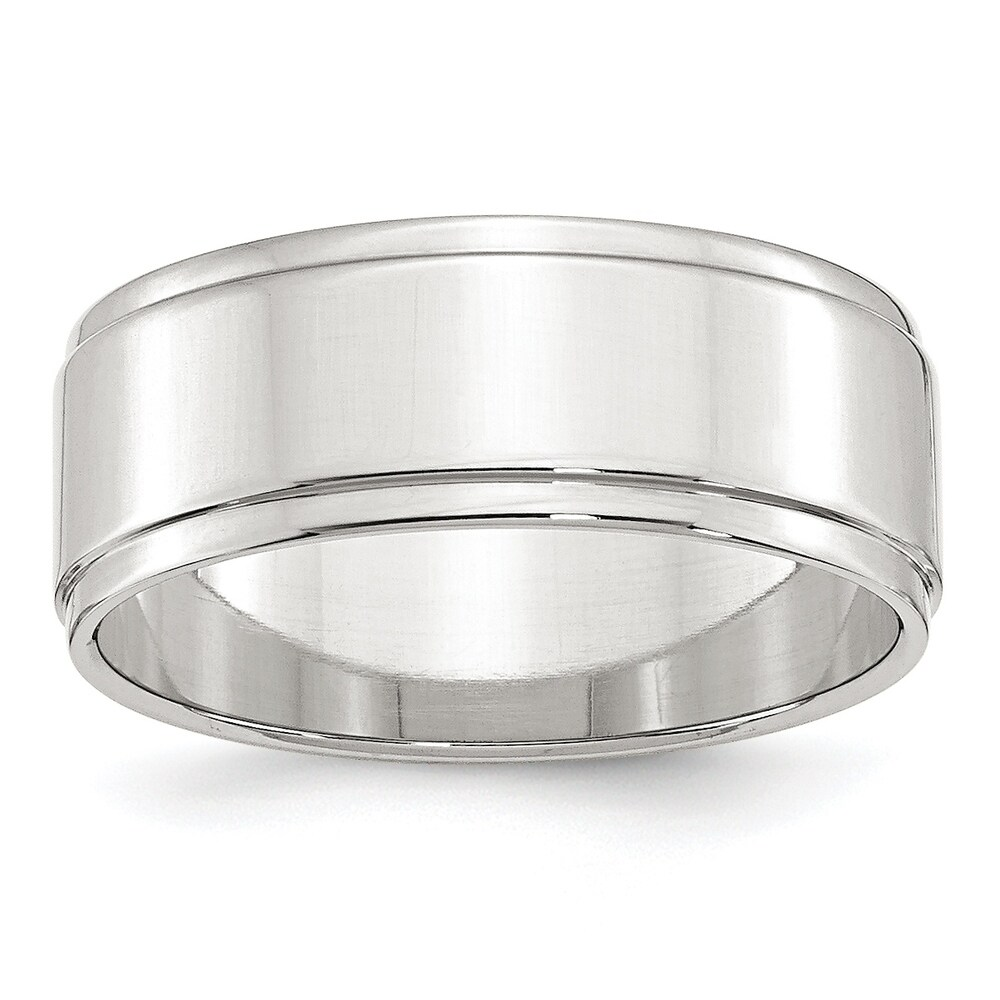 Sterling Silver 8mm Flat With Step Edge Band - White by Versil (6)