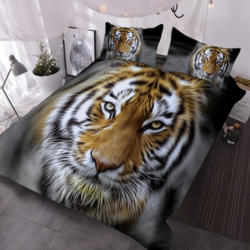Tiger Face 3D Animal Comforter Lightweight 3-Piece Machine Washable Comforter Set with 2 Pillowcases
