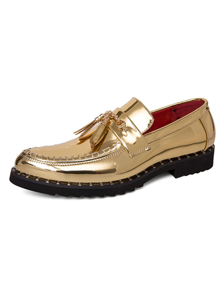 Milanoo Mens Loafer Shoes Slip-On Metal Details Round Toe PU Leather Casual Shoes