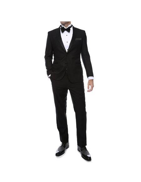 Men's 2 Toned Peak Lapel Regular Fit 2 Piece Black Tuxedo Suit Black
