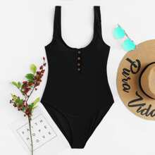 Button Front One Piece Swimsuit