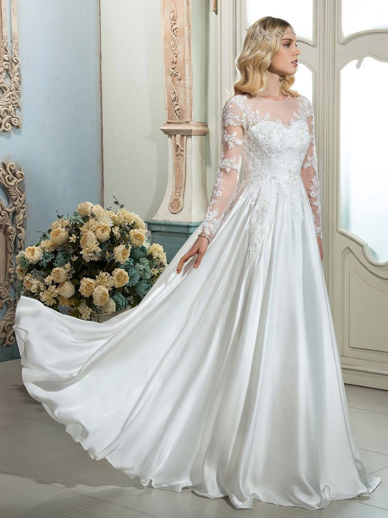 Ericdress Illusion Neckline Long Sleeves Outdoor Wedding Dress