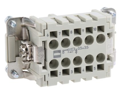 HARTING Han ES Series size 10 B Connector Insert, Female, 10 Way, 16A, 500 V