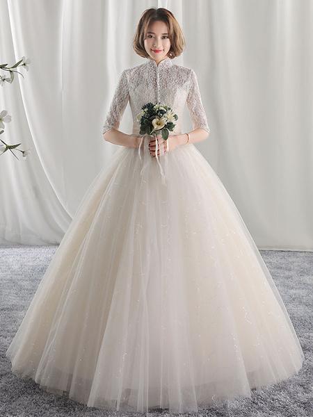 Milanoo Vestido de novia princesa con escote alto De banda de encaje con 1/2 manga hasta el suelo estilo princesa