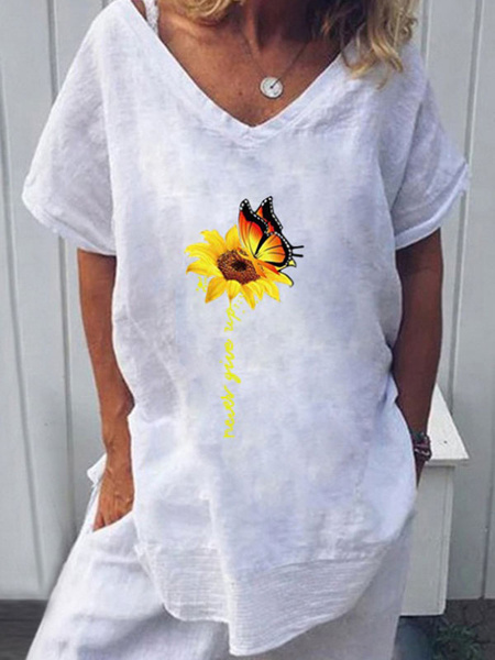 Milanoo Short Sleeves Tees Black Polyester Jewel Neck T Shirt For Women