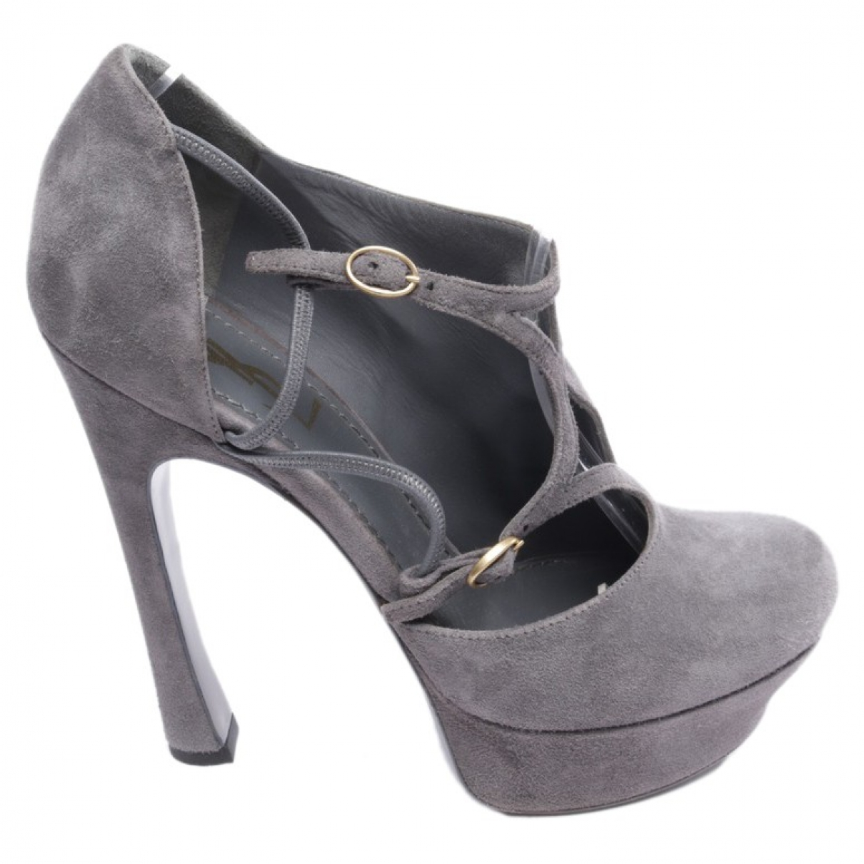 Yves Saint Laurent Trib Too Grey Suede Heels for Women 38.5 EU