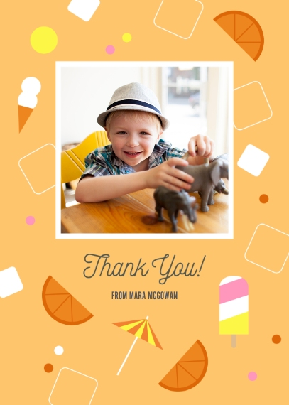 Kids Birthday Thank You 5x7 Folded Cards, Premium Cardstock 120lb, Card & Stationery -Summertime Bash Popsicle Thank You