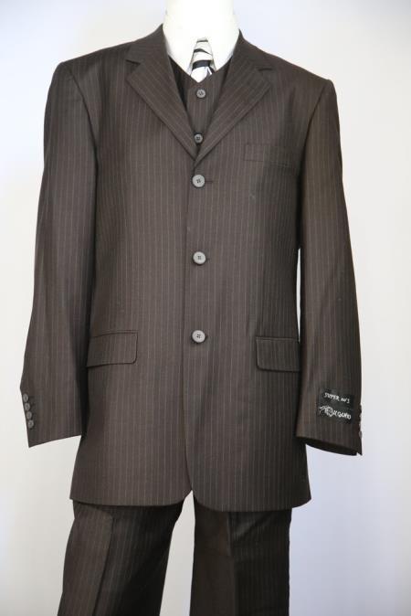 Mens Duffel Texture Dark Chocolate Stripe Zoot Suit