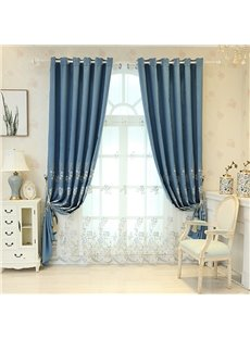 Modern Style Lovely Embroidered Floral Breathable Custom Sheer Curtains