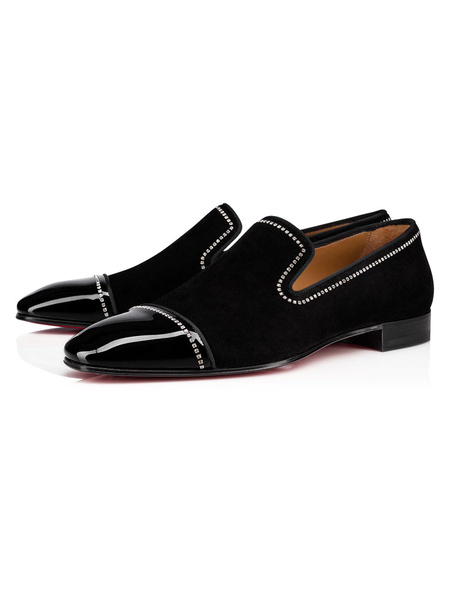Milanoo Mens Loafers Shoes Black Suede Leather Rhinestones Slip On Prom Shoes