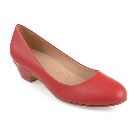 Journee Collection Womens Saar Pumps Block Heel, 8 Medium, Red