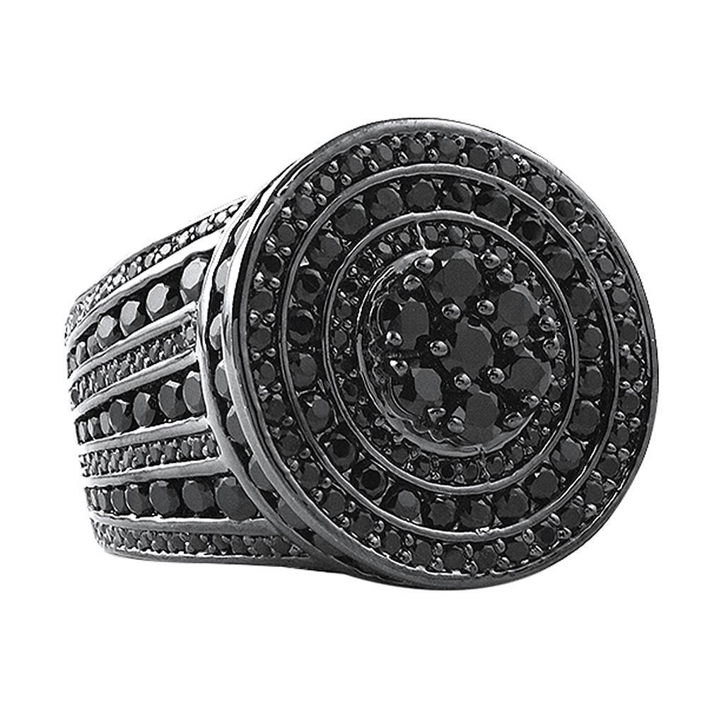 Jumbo Cluster CZ Bling Bling Ice Black Ring