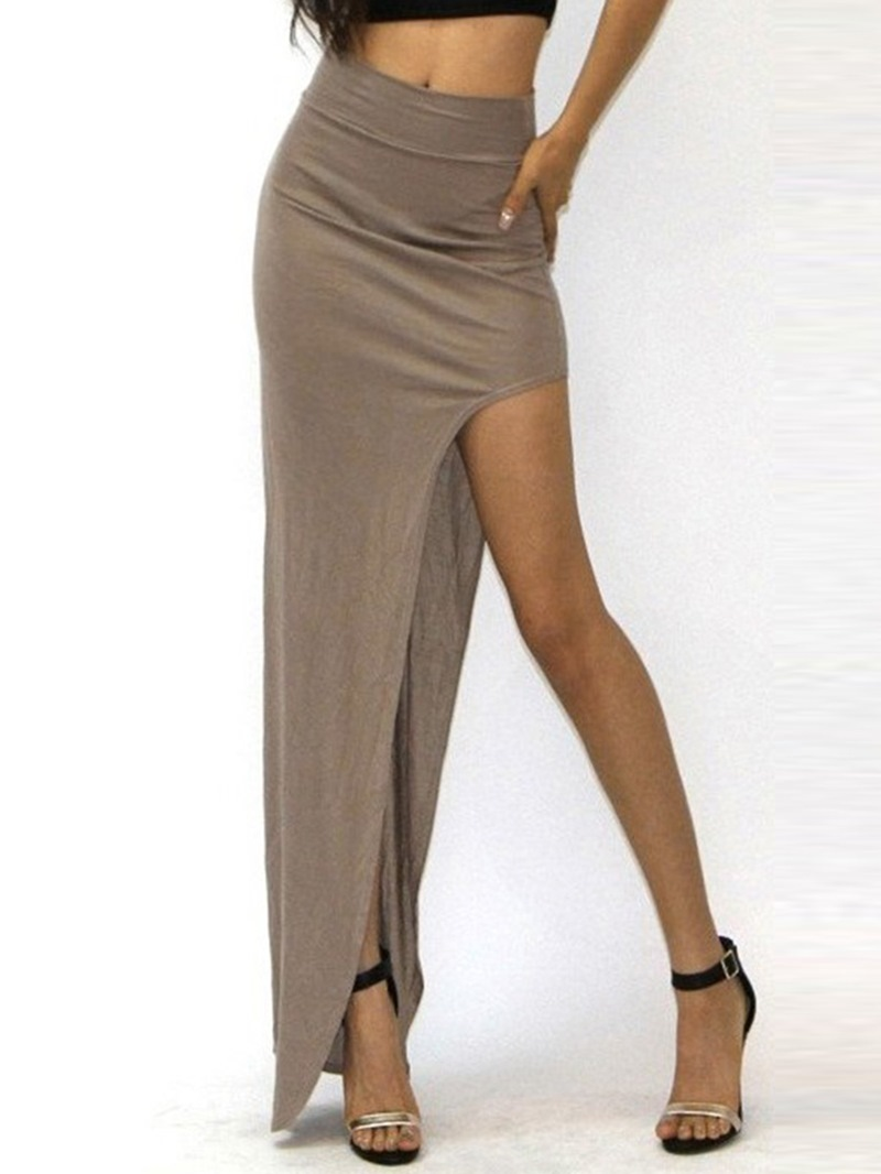 Ericdress Solid Color Split Maxi Skirt