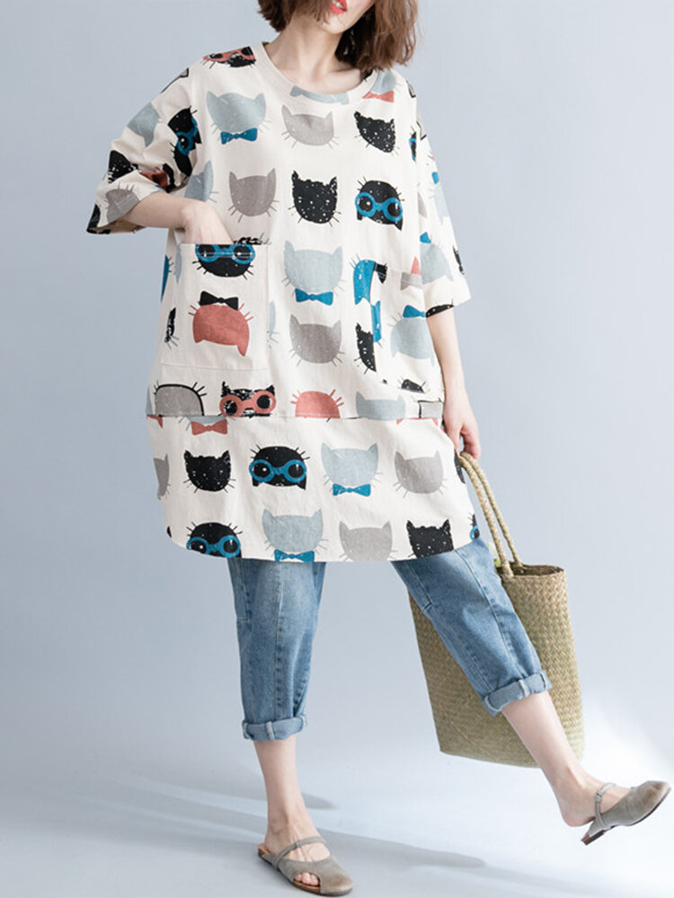 Casual Printed Half Sleeves Long Blouses For Women