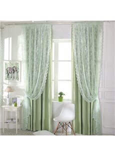 Romantic White Lace Sheer Curtain with Waves Border