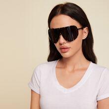 Studded Flat Top Shield Sunglasses