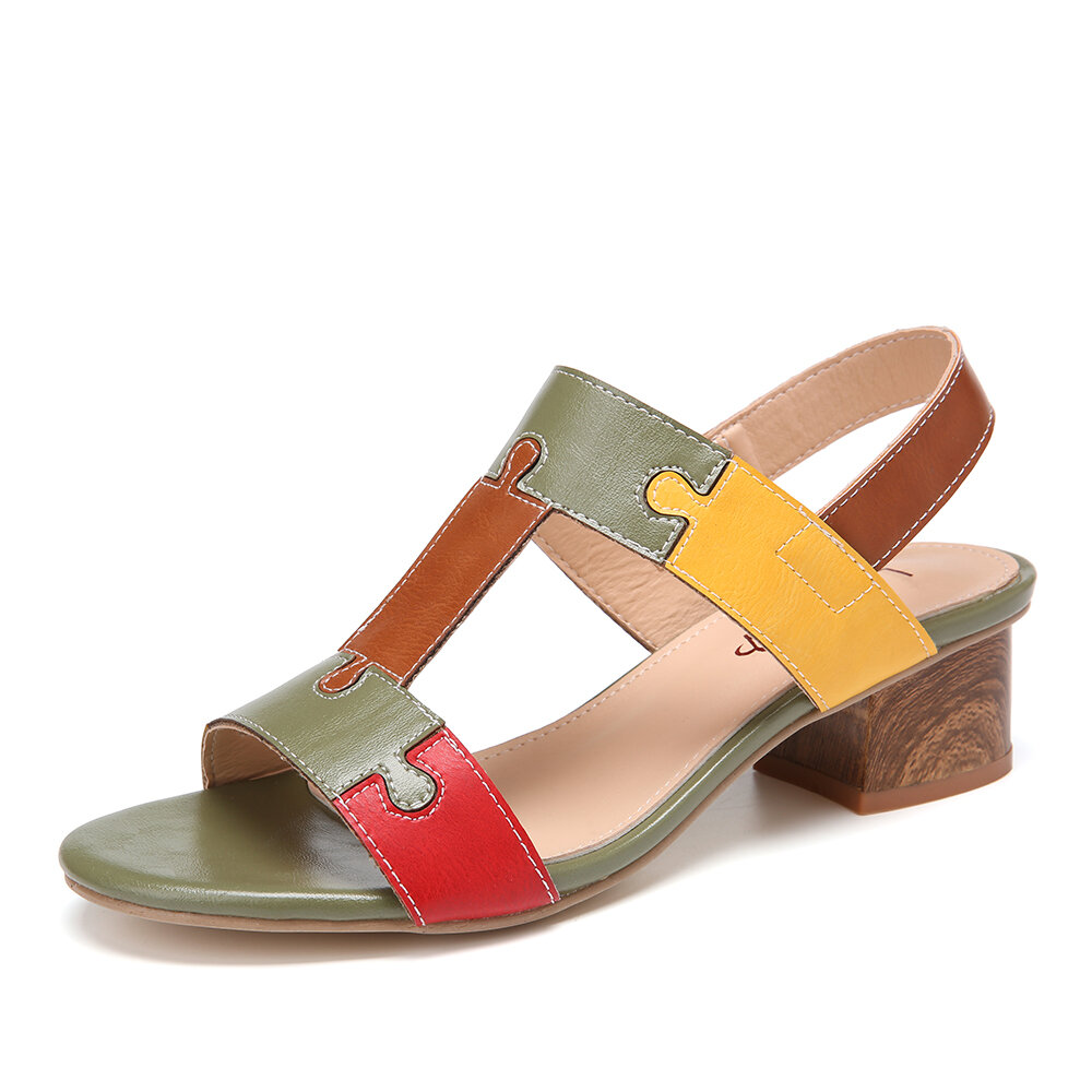 LOSTISY Color Block T Shape Opened Toe Elastic Band Chunky Heel Slingback Sandals