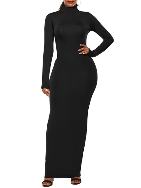 Milanoo Long Bodycon Dresses High Collar Maxi Dress For Women