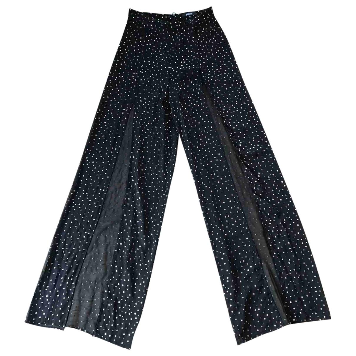 Just Cavalli \N Black Silk Trousers for Women 42 IT