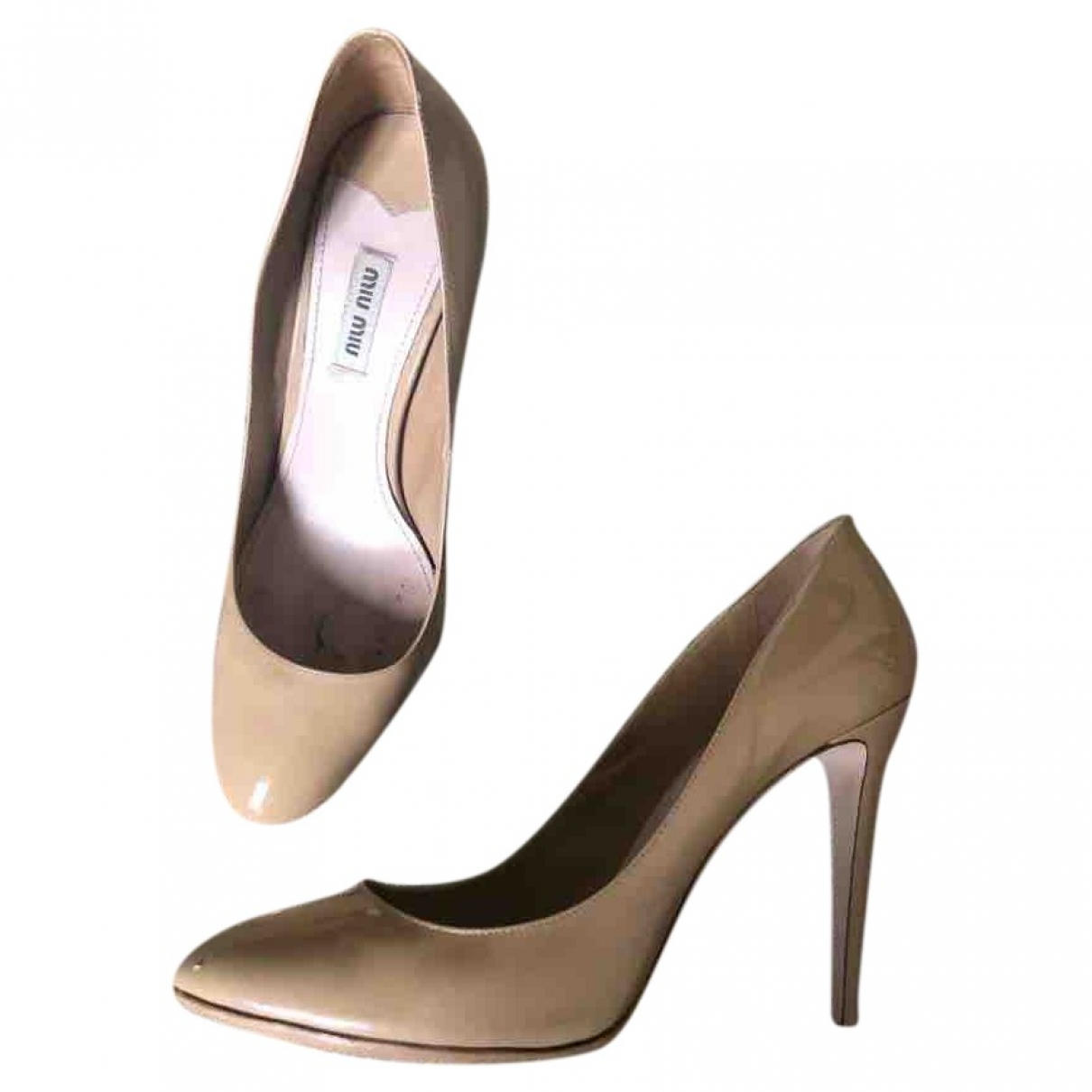 Miu Miu \N Beige Patent leather Heels for Women 39.5 EU
