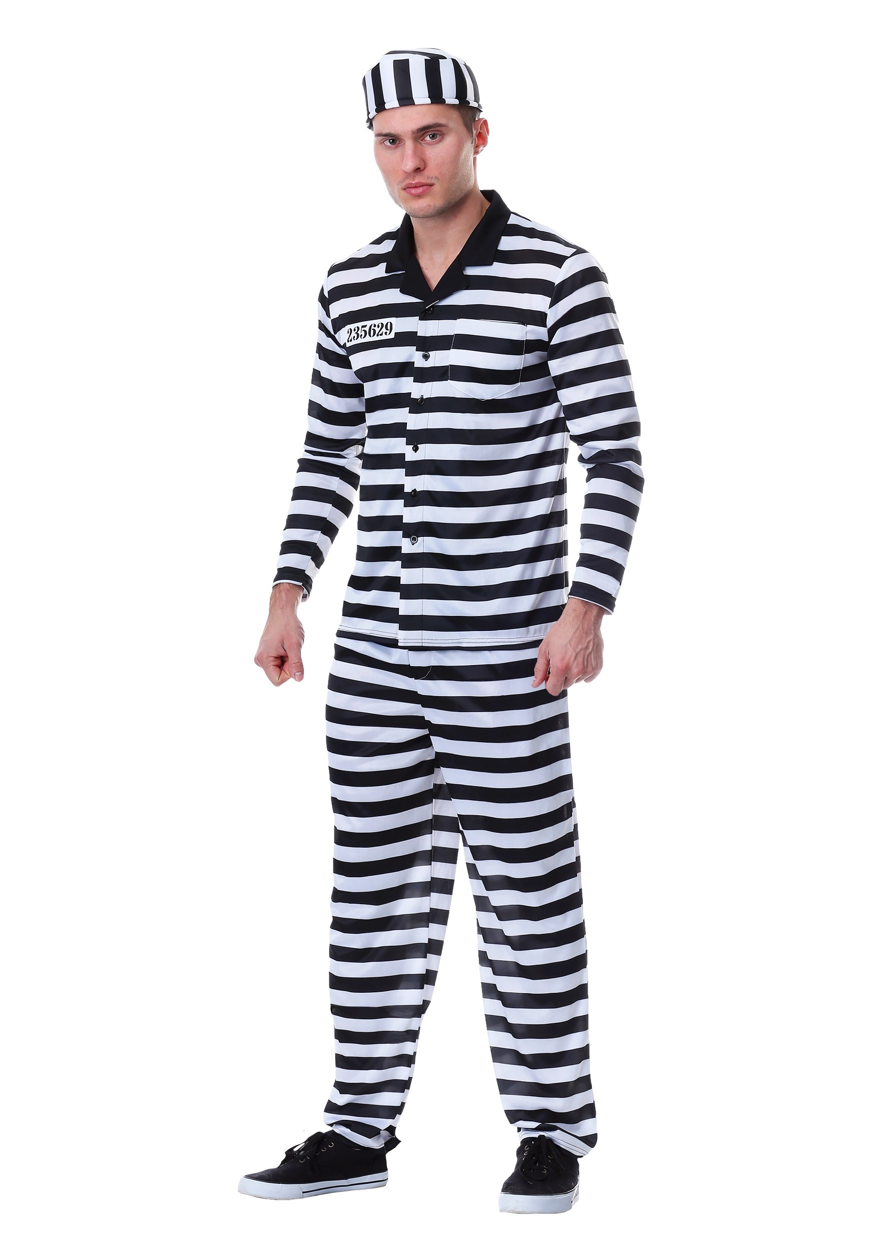 Deluxe Button Down Jailbird Costume for Men
