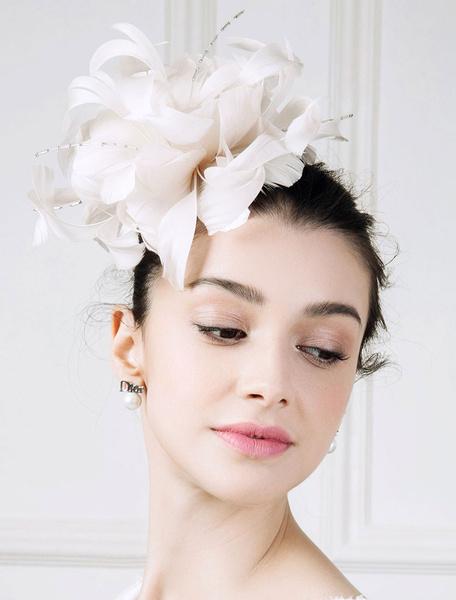 Milanoo Vintage Flapper Hat Feather Ecru White Flower Birdcage Headpiece Hat Halloween