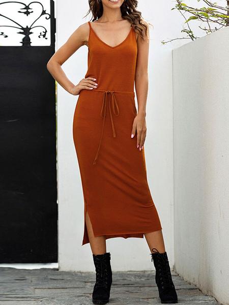 Milanoo Maxi Dresses Sleeveless Deep Brown V-Neck Lace Up Cotton Long Dress