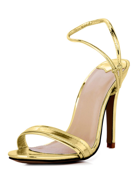 Milanoo High Heel Sandals Womens Silver PU Open Toe Slingback Stiletto Heels Dress Sandals