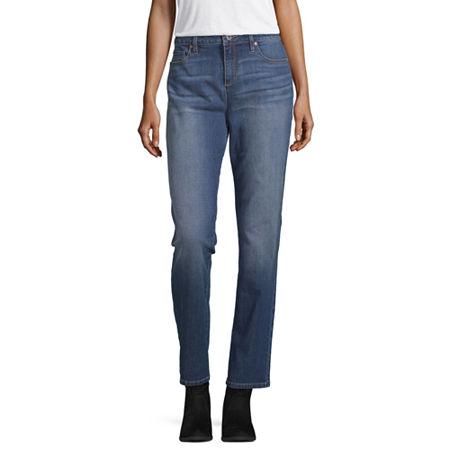 Liz Claiborne Womens Girlfriend Straight Leg Jean, 2 , Blue