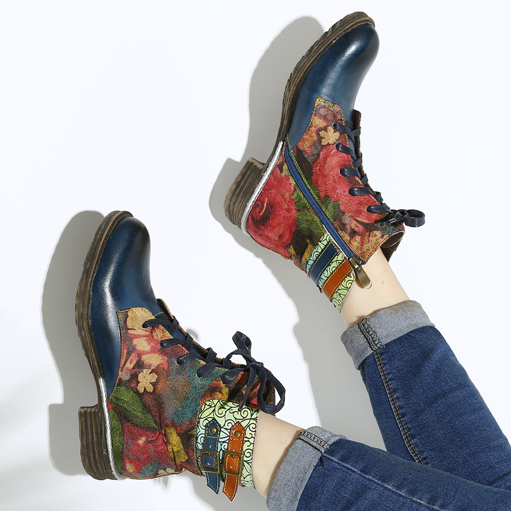 SOCOFY Womens Watercolor Rose Genuine Leather Zipper Lace Up Flat Boots