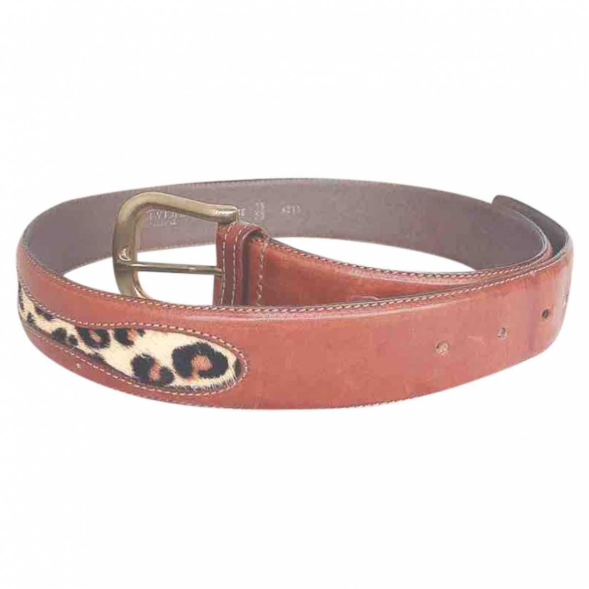 Non Signé / Unsigned \N Gold Leather belt for Women 75 cm