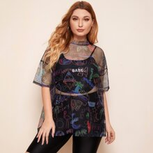 Plus Letter Graphic Sheer Mesh Top