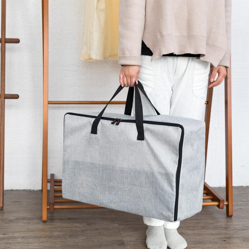 Linen Cotton Zipper Quilt Storage Bag Thickening Moistureproof Solid Tote Bag