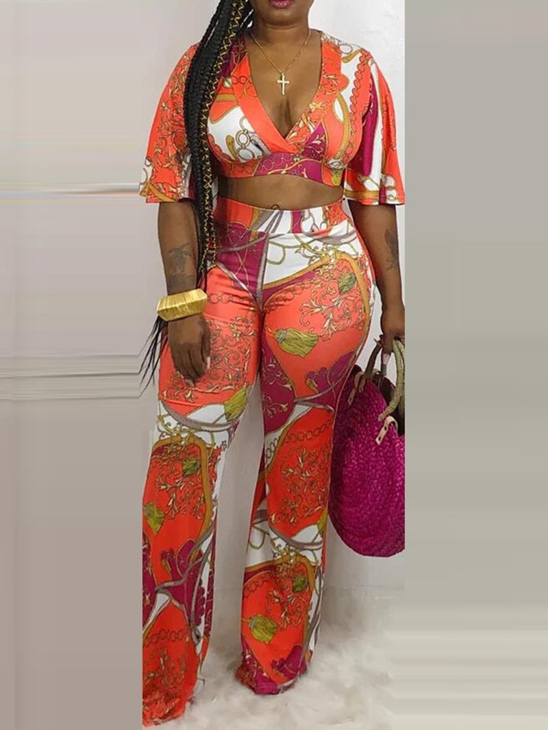 Ericdress African Style Floral Print Lace-Up T-Shirt And Pants Two Piece Sets