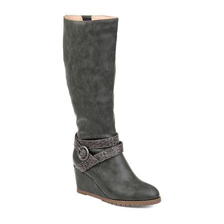 Journee Collection Womens Garin Extra Wide Calf Dress Zip Boots Wedge Heel, 7 1/2 Medium, Gray