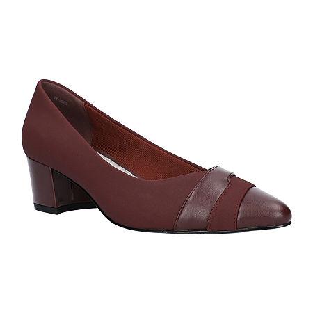 Easy Street Womens Elle Pumps Block Heel, 7 1/2 Wide, Red